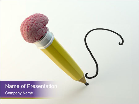 Pencil with Brain Eraser PowerPoint Template