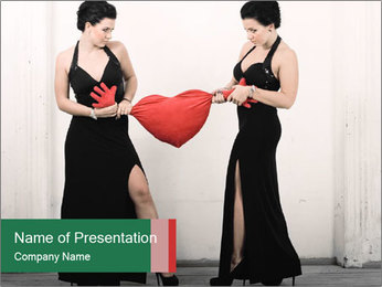 Women Fighting for Love PowerPoint Template