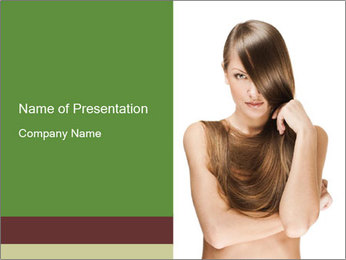 Woman with Shiny Hair PowerPoint Template