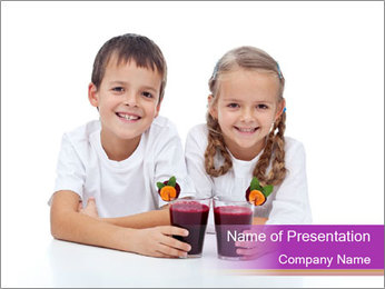 Children with Smoothies PowerPoint Template