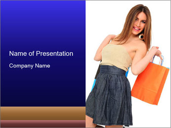Woman Holding Fancy Orange Bag PowerPoint Template