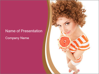 Red-Haired Woman with Grapefruit PowerPoint Template