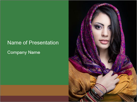Woman with Covered Head PowerPoint Template