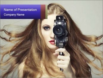 Model Holding Camera PowerPoint Template