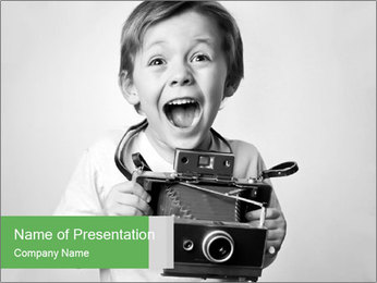 Boy Holding Camera PowerPoint Template