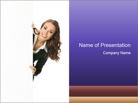 Business Lady Standing Behind the Board PowerPoint Template