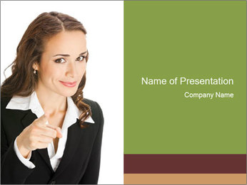 Business Woman Pointing Finger PowerPoint Template