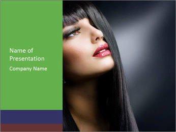 Woman with Glossy Black Hair PowerPoint Template