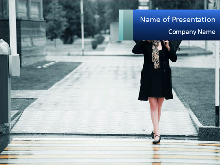 Woman Pedestrian PowerPoint Template