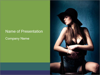 Fashion Model on Chair PowerPoint Template