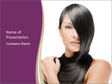 Woman's Long Black Hair PowerPoint Template