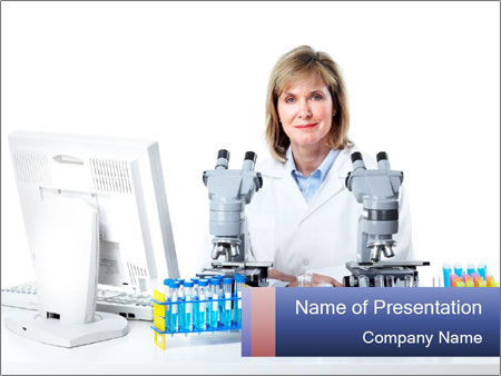 Woman at Laboratory PowerPoint Template