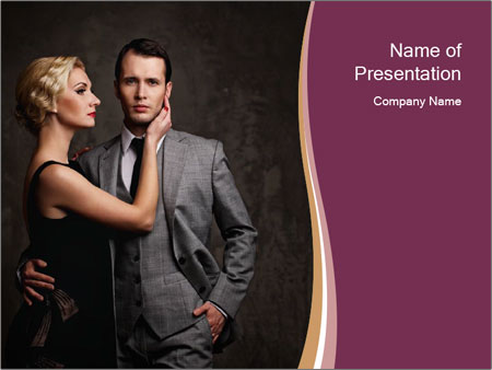 Passionate Retro Couple PowerPoint Template