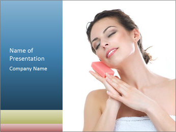 Woman with Facial Soap PowerPoint Template