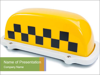 Yellow Taxi Sign PowerPoint Template
