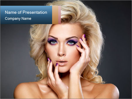 Blond Lady with Violet Makeup PowerPoint presentationsmallar