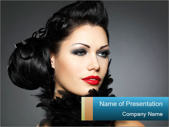 Woman in Boa PowerPoint Template