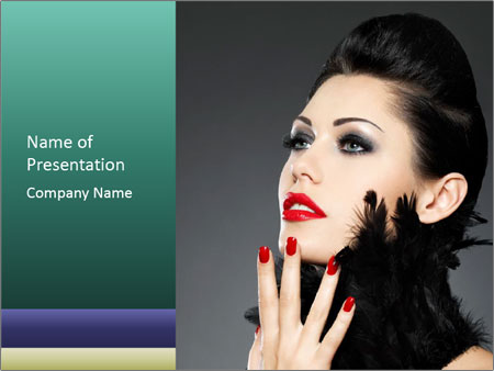 Woman with Black Feathers PowerPoint Template