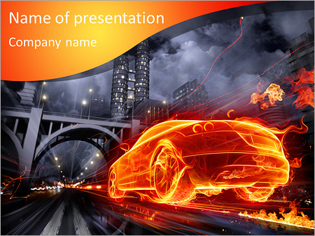 Auto In Fire PowerPoint Template