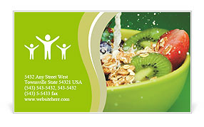 Bowl with muesli and fresh berries and fruits with splashing milk Business Card Template