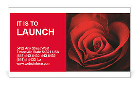 Valentine Red Heart Rose Business Card Template