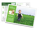 A cute little baby boy sit in the grass Postcard Template