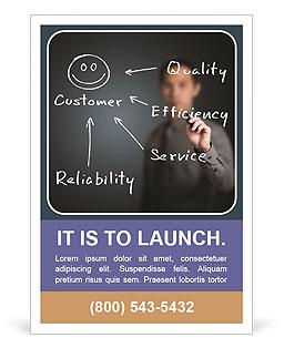 Obchodní muž psaní konceptu kvality, účinnosti, servis a spolehlivost, aby šťastný zákazník Šablony inzerátů