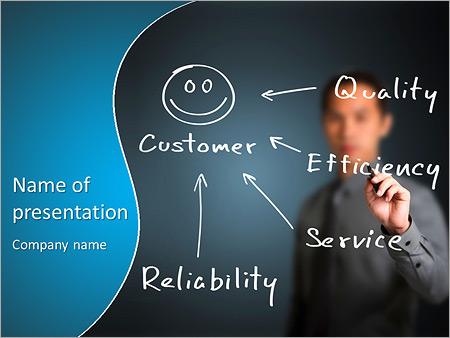 Zakenman schriftelijk concept van de kwaliteit, efficiëntie, service en betrouwbaarheid maken tevreden klant Sjablonen PowerPoint presentatie
