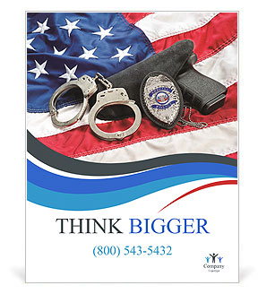 Police badge, gun and handcuffs on an American flag symbolizing law enforcement in the United States Poster Template