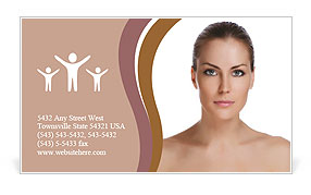 Beautiful woman's face with tan. clean skin - isolated on white Business Card Template