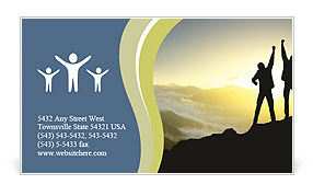 Silhouette of couple winners on sky background. Sport and active life Business Card Template
