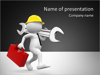 3d people - man, person with toolbox and wrench. Engineer PowerPoint Template