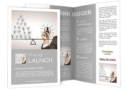 Hand drawing a contrast of light bulbs Brochure Template