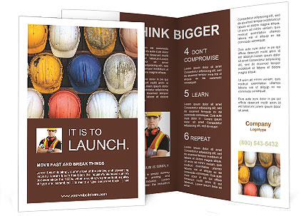 Old and worn colorful construction helmets Brochure Template