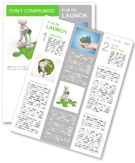 Green Colored Puzzle Newsletter Template