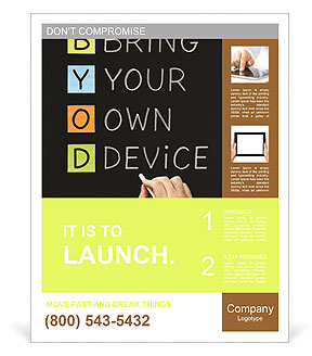 Hand writing Bring Your Own Device with white chalk on blackboard Poster Template