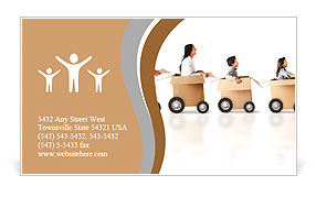 Family in a car made of cardboard box - express delivery Business Card  Template