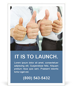 Close-up of business team holding their thumbs up Ad Template