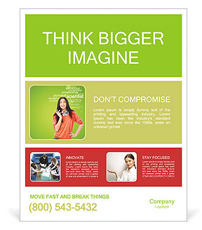 Young female student standing and thinking what professio Poster Template