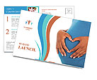 Pregnant woman builds heart on her baby bump Postcard Template