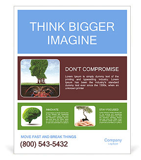 Healthy heart and mind with a tree in the shape of a human head Poster Template