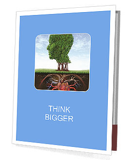 Healthy heart and mind with a tree in the shape of a human head Presentation Folder