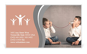 Young brothers talking with tin can telephone Business Card Template