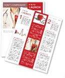 Vrouwelijke arts staande met stethoscoop en rood hart Nieuwsbrieven
