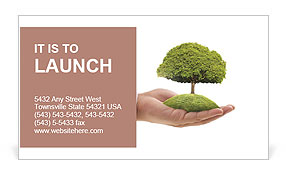 Tree in the palm of your hand Business Card Template