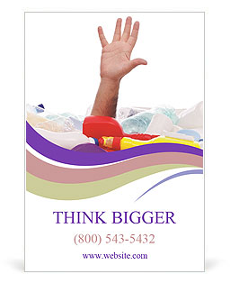 Male hand is showing five fingers Ad Template