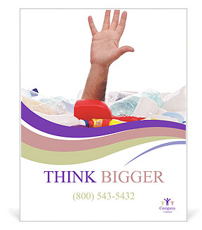 Male hand is showing five fingers Poster Template