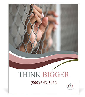 Depression hand on chain-link fence Poster Template