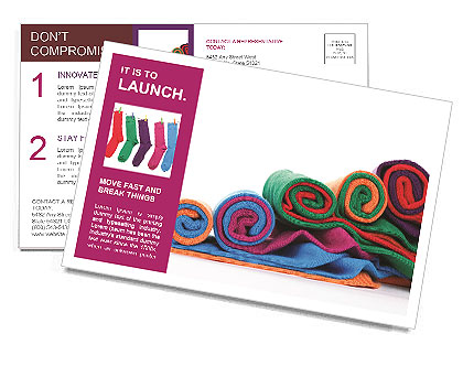 Colorful fabric Postcard Template