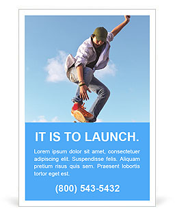 Skateboarder doing stunts on a background of blue sky Ad Template